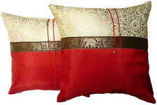Set of Two Aurora Red Silk Throw Cushion Pillow Cover Case Elephant Striped