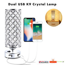 Crystal Table Lamp, With Dual USB Ports, Bedside Modern Light, E27, UK Seller.