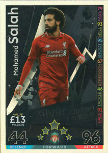 2018-19 TOPPS MATCH ATTAX EXTRA MOHAMMED SALAH LIVERPOOL LIMITED EDITION SILVER