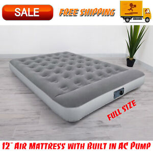 """Bestway 12"""" Air Mattress with Built in AC Pump, Flocked Airbed Camping Full Size"""