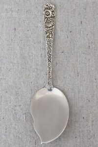 Vintage S Kirk & Son Sterling Silver Repousse Large Solid Jelly Server Spatula