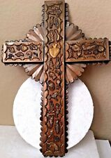 """Punched Tin Milagros Ex Voto Charm Bronze Wall Cross Mexican Folk Art 15 x 11"""""""