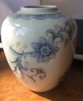 Vintage Andrea by Sadek Vase Ginger Jar Blue Floral Pattern on White Japan 5.5""
