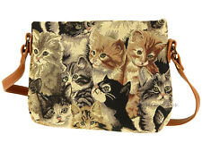 Signare Women Ladies Woven Tapestry Across Body Shoulder Bag In Cats Design
