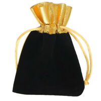 5Pcs Black Luxury Velvet Drawstring Velour Pouch Jewelry  Ring Gift Bag Pouch GR