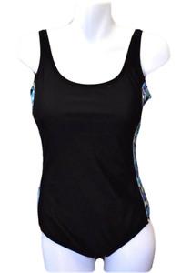 Catalina Women XL 16 18 One Piece Swimsuit Padded Bra Clip Back Geometric Black