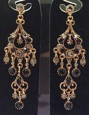 Chandelier Black Long Dangle Drop Earring Antique Gold Wedding Formal 8cm