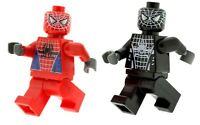 Custom Minifigures 2 x Spider man (Red & Balck)  FREEPOST WORLD Printed on LEGO