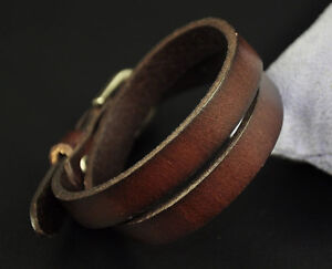 COOL Buckle Closure Genuine Leather Bracelet Wristband Double Wrap Brown Mens