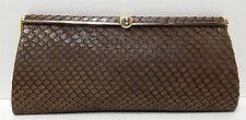 Loewe 1846 Vintage Brown Snakeskin Turn Knob Clutch Bag