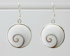 Sterling Silver Round Shiva Shell Earrings