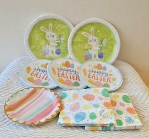 """Lot of Happy EASTER Paper Plates and 40pc Napkins 10"""" Dinner & 7"""" Dessert Plates"""