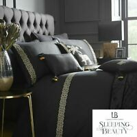 Laurence Llewelyn-Bowen Monoglam Embroidered Duvet Cover Bedding Set Black/Gold
