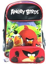 """Rovio Angry Birds Family Boys 16"""" Canvas School Backpack Plus Pencil Case - Red"""