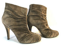 NINE WEST brown leather rucched back zip ankle city booties 8.5 FREE SHIP!
