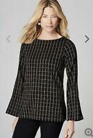 J. Jill Ponte Knit Buttoned Sleeve Top Blouse Sz XL Black Camel Windowpane
