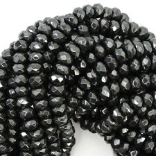 """6mm faceted hematite rondelle beads 15.5"""" strand"""