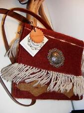 Indian Saddle Blanket Leather SHOULDER PURSE BAG Silver CONCHO NWT Crossbody