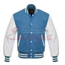 10Jacket Sky blue Varsity  Letterman Wool with white Real Leather Sleeves XS-4XL