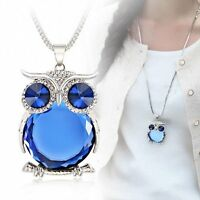 Blue Big Eye Owl Rhinestone Crystal Long Sweater Chain Pendant Necklace Jewelry