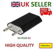 2x European 2 Pins USB AC Power Adapter EU Plug Wall Charger smart phone - Black
