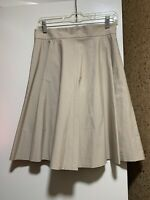 NWT Brooks Brothers Women's High Waist Beige Beige Lined Pleated Skirt, Sz 6P