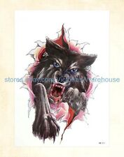 "US Seller-wolf Halloween 8.25"" large arm tattoo temporary fake tatoos"