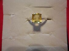Golden Fluorite Cushion Solitaire Ring in 925 Sterling-Size 7-TGW 2.50 Carats