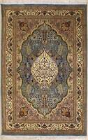 Rugstc 4.5x7 Senneh Pak Persian Blue  Rug, Hand-Knotted,Floral with Silk/Wool