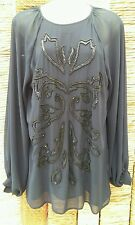 RIVER ISLAND Ladies Navy Beaded Long Tunic Top Size 8