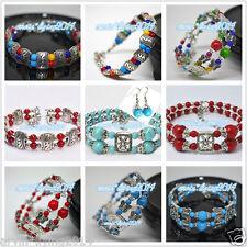 Damas Moda Dije Joyería Tíbet tibetano plata pulsera brazaletes colorido