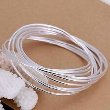 Womens 925 Sterling Silver Stackable Bangle Wristband Fashion Bracelet #B125