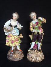 Antique porcelain Volkstedt Thuringen figurines pair. +/- 1850