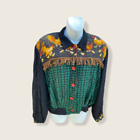 Vintage 80's Womens Carole Little Funky Blouse cardigan 12 Rayon Roster fringe