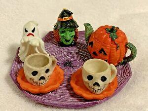 1994 Miniature Halloween Pumpkin Tea Set 8 Pieces Vintage Ranger Int'l China