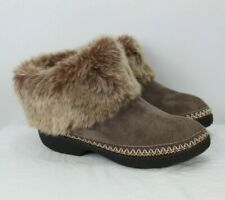 Kelly & Katie Fuzzy Faux Leather Fox Fur Tan Ankle Boots Women's Size 6.5-7