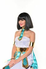 Halloween Black Cleopatra Wig Cleo Full Wig with Bangs Egyptian Costume G0504