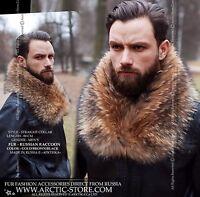 Fur collar for Men Russian raccoon Tanuki Scarf Stole piel pels fourrure Pelz
