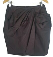 CUE Skirt - Dark Red Wine Burgundy Black Acetate Pleated Asymmetrical Pencil 10