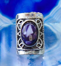 Ring Vintage Style Tibet Silver Shell Mother of Pearl Purple Shield Square Shape