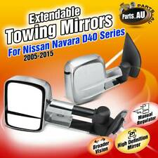 2x Top Manual Chrome Extendable Towing Mirrors for Nissan Navara D40 2005-2015