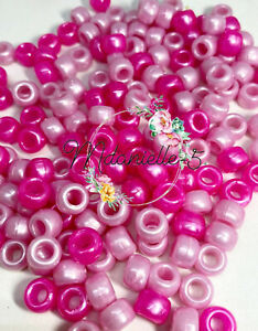 3 For 2 X100 HOT PINK & BABY PINK PEARL MIX 9 X 6mm PONY BEADS