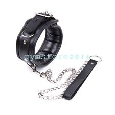 Slave Kinky Padded Leather Neck Collar With Chain Lead Leash Restraint RolePlay