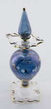 Flacon fiole a parfum huile verre soufflé d' Egypte 16.5cm  fleur bleu CA10 4013