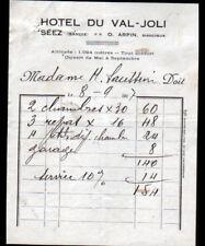 """SEEZ (73) CHALET-HOTEL """"HOTEL DU VAL JOLI / O. ARPIN Directeur"""" en 1937"""