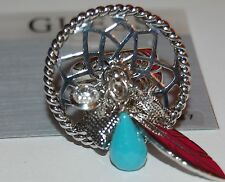 NWT Guess Silver Metal-Beads-Clear Rhinestones Round Dreamcatcher Charm Ring