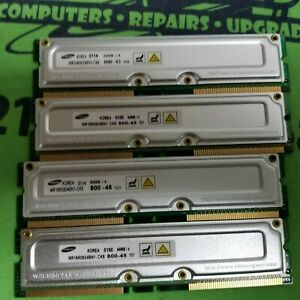 LOT OF 4 Samsung 4 x 64MB (256MB) RDRAM RIMM Memory - MR16R0824BN1-CK8