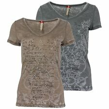 KEY LARGO Damen T-Shirt  Damenshirt Faded Waschung Nieten Besatz Stern Print Top