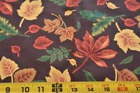 By 1/2 Yd, Fall Leaves on Dark-Brown Quilt Fabric, Marcus Brothers, N3874