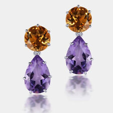 925 Sterling Silver Brazilian Citrine With African Amethyst Dangle Earrings